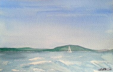 Gull Lake Watercolor painting