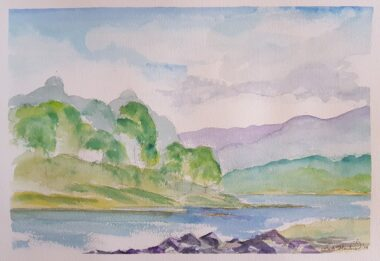 Afternoon Skies For Fishing Watercolor painting