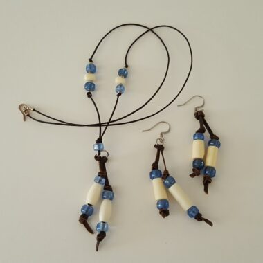 Deer Bone and Blue Bead Necklace with Earings
